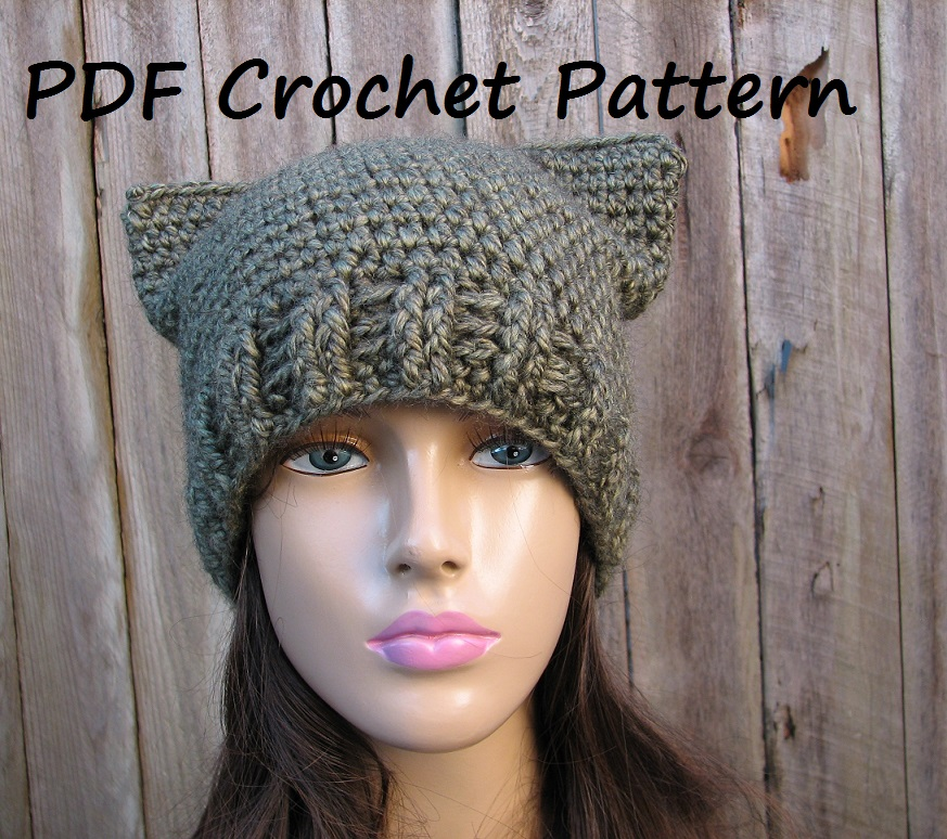 Crochet Kitty Hat Pattern : CROCHET PATTERN!!! Cat Hat - Slouchy Hat, Crochet Pattern PDF,Easy ...