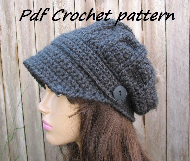 CROCHET PATTERN!!! Crochet Hat - Newsboy Hat, Crochet Pattern PDF,Easy ...