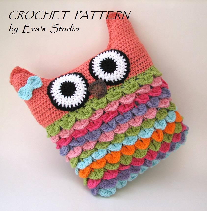 Free Crochet Owl Cushion Pillow Pattern : Crochet Owl Pillow Pattern, PDF Crochet Pattern, Owl ...