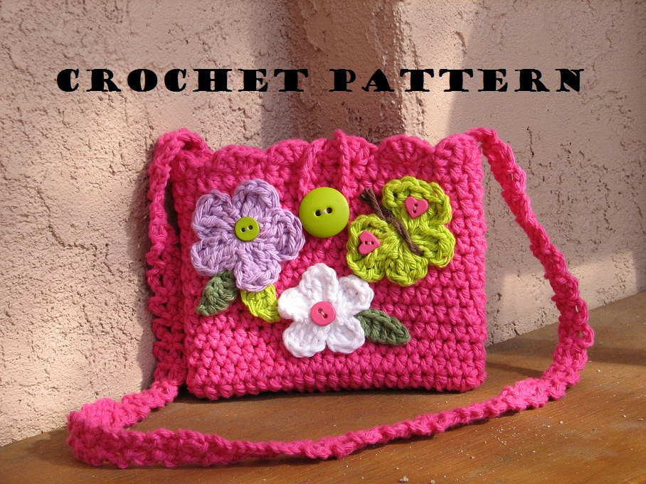 Crochet Bag For Girl : Girls Bag / Purse with Butterfly and Flowers, Crochet Pattern PDF,Easy ...