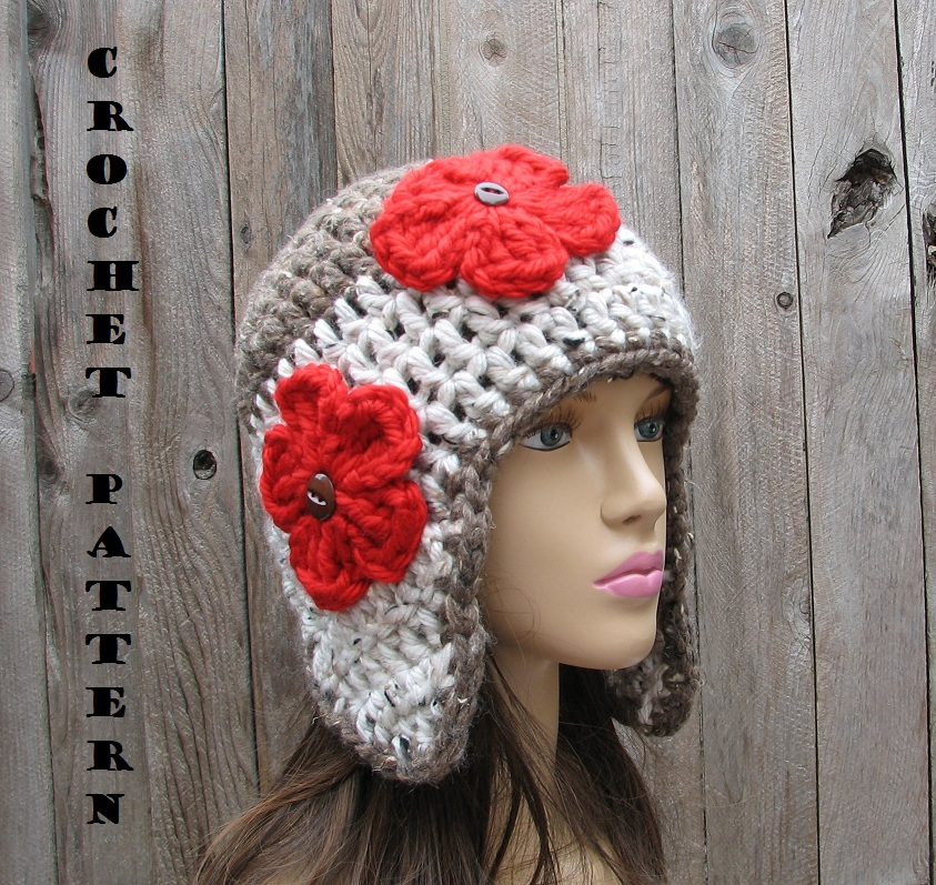Crochet Patterns Hat With Ear Flaps : Crochet Ear Flap Hat - Crochet Pattern PDF,Easy, Great For ...