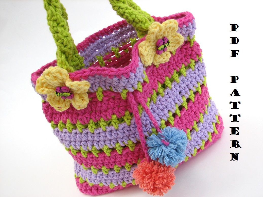 Beginners Crochet Bag Patterns : Colorful Girls Bag / Purse, Crochet Pattern PDF,Easy ...