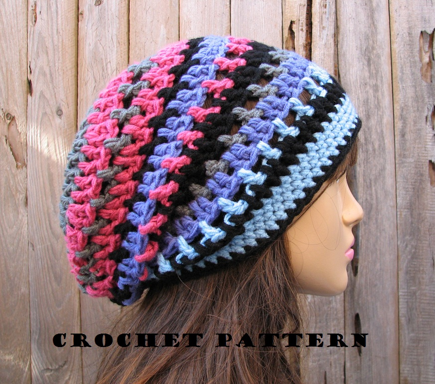 Easy Beginner Crochet Patterns For Hats : Crochet Hat - Slouchy Hat, Crochet Pattern PDF,Easy, Great ...