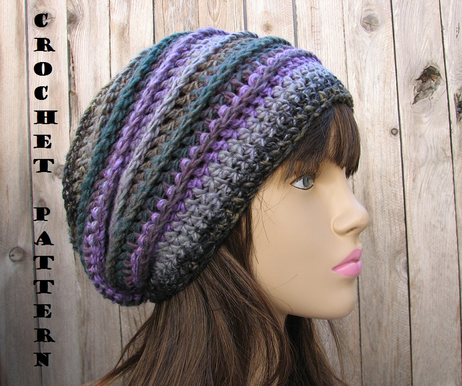 Crochet Patterns Slouchy Beanie : CROCHET PATTERN!!! Crochet Hat - Slouchy Hat, Crochet Pattern PDF,Easy ...