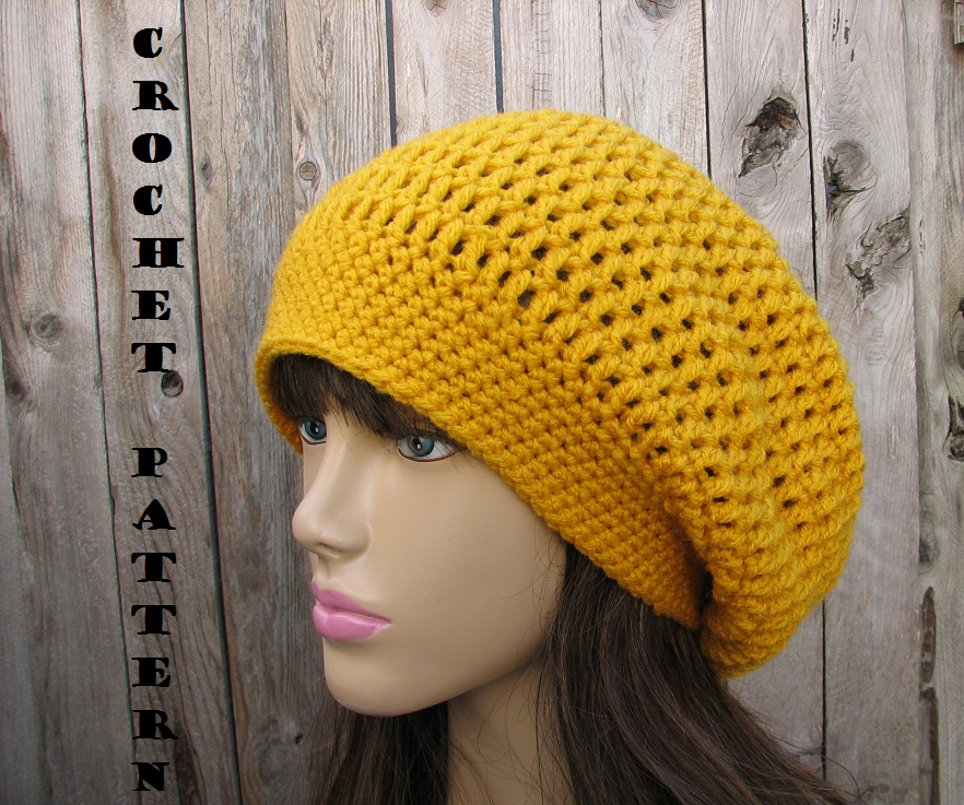 Beginner Crochet Patterns For Hats : CROCHET PATTERN!!! Crochet Hat - Slouchy Hat, Crochet ...