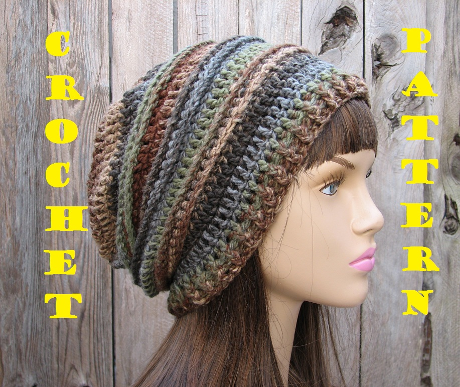 Crochet Patterns Hats : CROCHET PATTERN!!! Crochet Hat - Slouchy Hat, Crochet Pattern PDF,Easy ...
