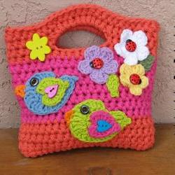 Girls Bag / Purse with Birds and Flowers , Crochet Pattern PDF,Easy, Great for Beginners, Pattern No. 16
