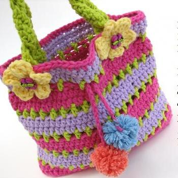 Crochet Bag For Baby : Girls Bag / Purse With Ladybug And Flowers , Crochet Pattern PDF,Easy ...