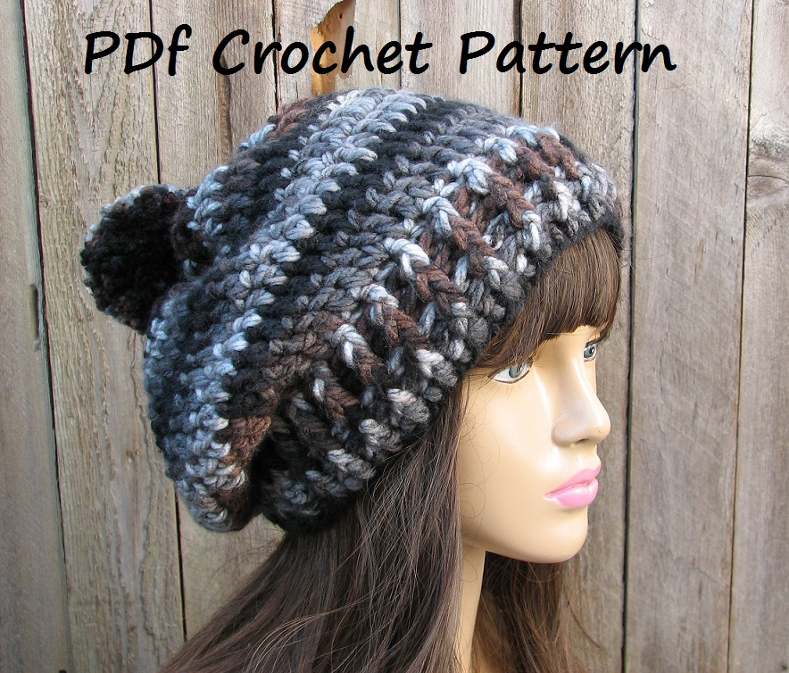 Easy Beginner Crochet Patterns For Hats : CROCHET PATTERN!!! Crochet Hat - Slouchy Hat, Crochet ...