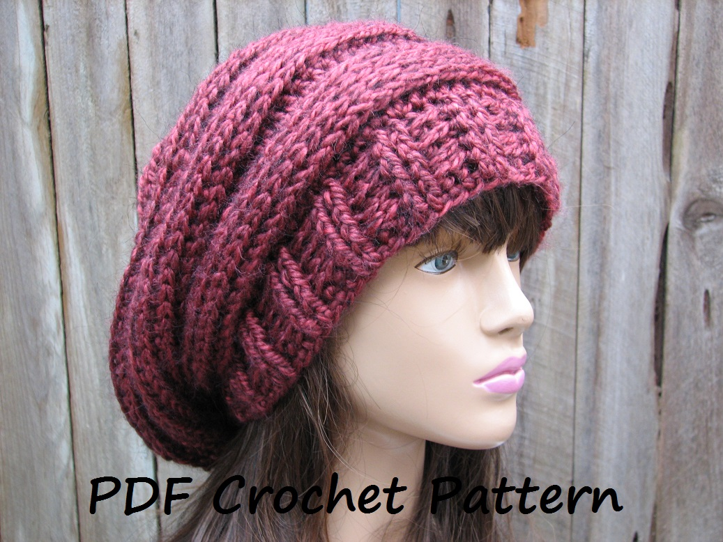 Crochet Slouchy Hat Pattern For Child : CROCHET PATTERN!!! Crochet Hat - Slouchy Hat, Crochet ...