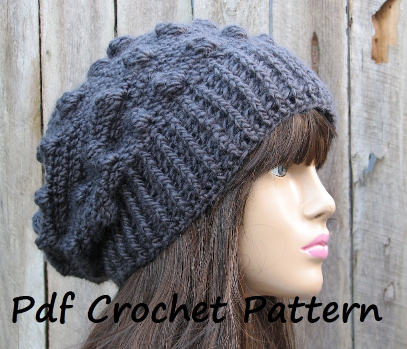 Free Crochet Bobble Slouch Hat Pattern Pakbit For