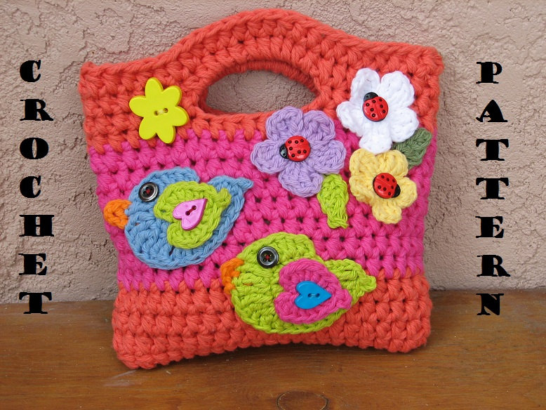 Beginners Crochet Bag Patterns : Girls Bag / Purse With Birds And Flowers , Crochet Pattern ...