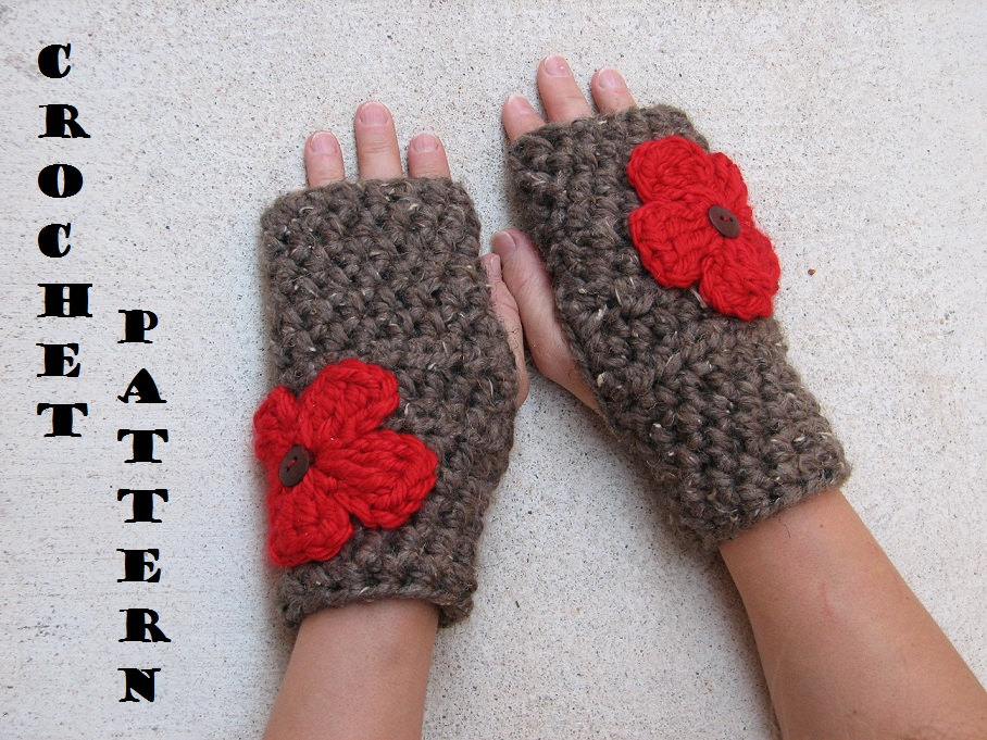 Crochet Fingerless Gloves Pattern Beginner : Fingerless Gloves With Red Flowers , Crochet Pattern PDF ...