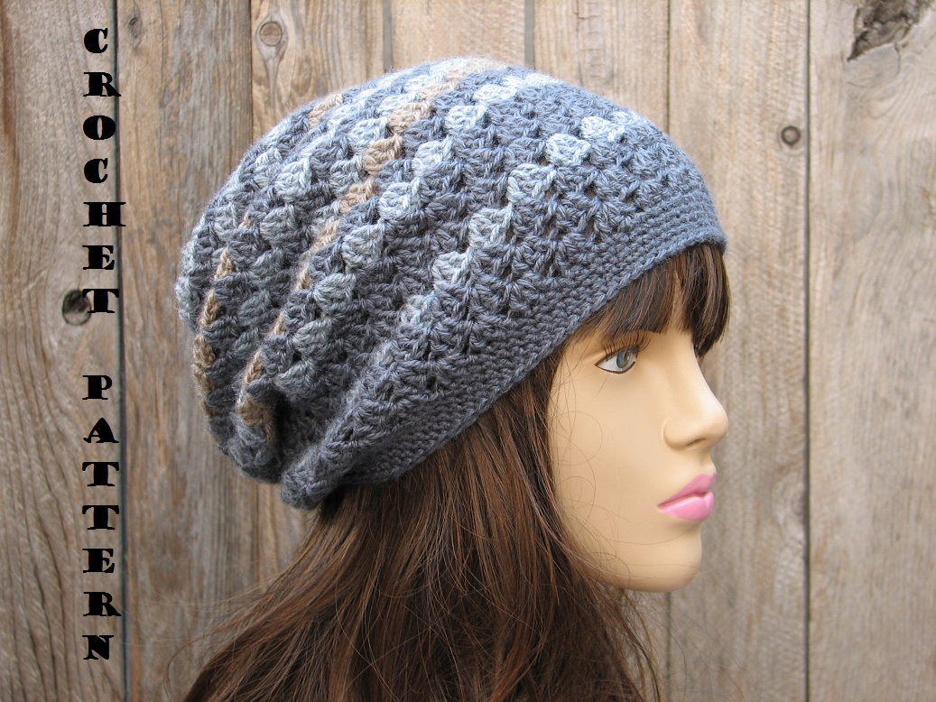 Crochet Hat Patterns Beanie : Crochet Hat - Slouchy Hat, Crochet Pattern PDF,Easy, Great ...